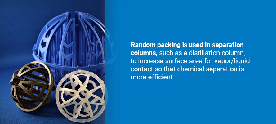 Random packing is used in separation columns, such as a distillation column, to increase surface area for vapor/liquid contact sot that chemical separation is more efficient.