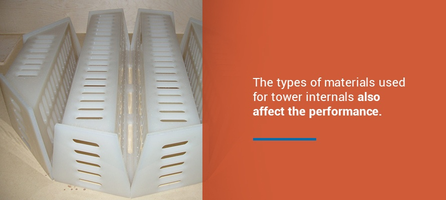 The types of materials used for tower internals also affect the performance